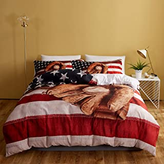 DEERHOME Baseball American Flag Duvet Cover Set,Baseball Bat and Ball on Foreground of Star-Spangled Banner National Sports,Decorative 3 Piece Bedding Set with 2 Pillow Shams, Queen Size