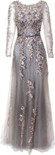 Meier Women's Illusion Long Sleeve Embroidery Prom Formal...