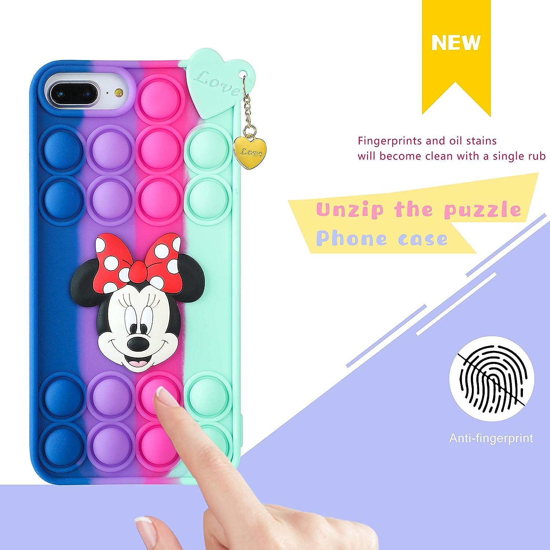 Trendy Fun for iPhone 6 Plus/6S Plus/7 Plus/8 Plus Case,Silicone Cartoon Funny Cute Cool Kawaii Design Fun Fidget Cover Cases for Boys Girls Women Men Bubble Minnie-for iPhone 6/6S/7/8 Plus 5.5