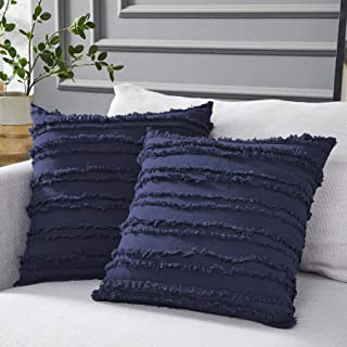 Best Longhui bedding Navy Blue Throw Pillow Covers for Couch Sofa Bed, Cotton Linen Decorative Pillows Cushion Covers, 18 x 18 inches, Set of 2 Review