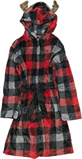 Cuddl Duds Boys Christmas Reindeer Red Buffalo Plaid Fleece Hooded Winter Bath Robe(12/14), Red/Black