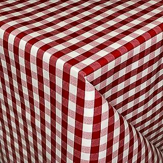 KEVKUS Nappe en toile cirée 01055-02 - Carreaux rouges foncés, bordeaux, rectangulaires, rondes, ovales (bord passepoilé (...