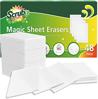 SCRUBIT Eraser Sheets – 48 Pack Disposable Cleaning Wipes That Cut Through Grease and Grime Like Magic - All Purpose House...