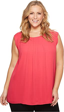 Vince Camuto Specialty Size - Plus Size Sleeveless Pleat Neck Blouse