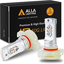 Alla Lighting 3800lm 5201 5202 Red LED Fog Lights Bulbs ETI 56-SMD Xtreme Super Bright PS19W 12085 5201 5202 LED Bulbs DRL Replacement for Cars, Trucks, SUVs, Vans