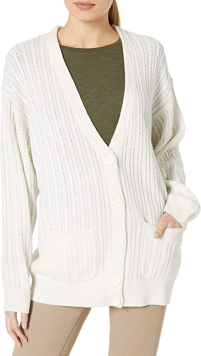 Lacoste Womens Long Sleeve V-Neck Long Chunky Cable Knit Cardigan Sweater