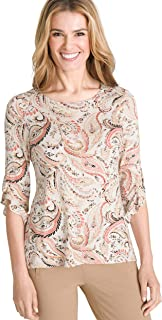 Chico's Women's Classic Fit Stretch Knit Printed Stripe Ruffle Elbow Sleeve Bateau Top