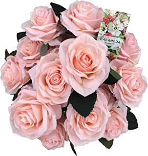 DALAMODA Light Peach 2 Bundles (with Total 20 Heads) Artificial Silk Flower Rose Bush DIY Wedding Bride Bouquet Any Craft