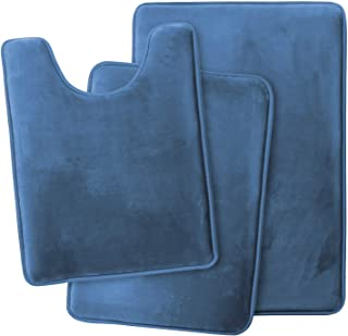 Clara Clark Memory Foam Bath Mat, Ultra Soft Non Slip and Absorbent Bathroom Rug. – Royal Blue, Set of 3 - Small/Large/Con...