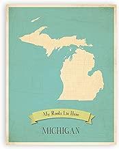 Nursery Decor, Michigan State Vintage Map, Michigan Personalized Wall Map 11x14, Kid's Michigan Map Wall Art, Children's Michigan Vintage State Map, MI Wall Art Print, Nursery Wall Art, My Roots Lie