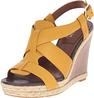 Cole Haan Women's Breecey Wedge Mineral Yellow Leather/Natural Jute/Natural Stacked Sandal 8.5 B (M)