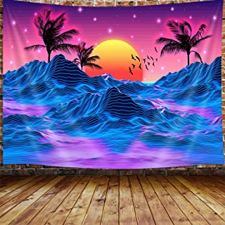 JAWO Retro Neon Trippy Small Tapestry for Men, Cool Mountain Sun 70s 80s Room Decor Aesthetic Art Tapestry Wall Hanging fo...