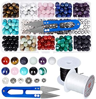 HOMEIDOL Stone Beads Box Set Kits,264Pcs 8mm Round Chakra Rock Beads and Natural Green Crystal Stone With 2 Rolls Elastic Crystal String for Bracelet Necklace Jewelry Making DIY+1 Snip Beading Scissor