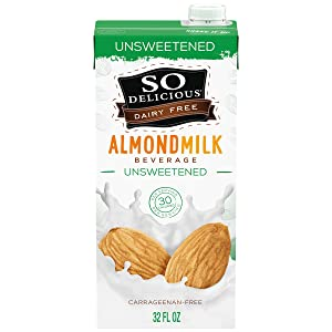 So Delicious Dairy Free Shelf-Stable Almond Milk, Unsweetened, Vegan, Non-GMO Project Verified, 1 Quart (Pack of 6)