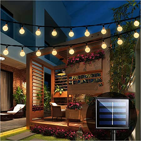 iihome Solar Garden Lights, 60 LED 36ft Waterproof Outdoor String Lights Solar Powered Crystal Ball Decorative Lights for Garden,Patio,Yard,Home,Chrismas Tree,Parties,Warm White, 36feet