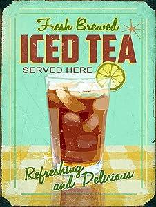 Nxsbns Iced Tea Kitchen Home Decor Retro Vintage Metal Tin Sign 12