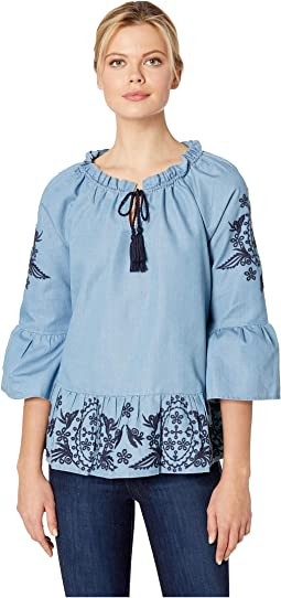 Jocelynn Peplum Blouse with Embroidery