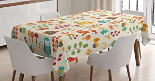 Ambesonne Children Tablecloth, Cute Kids Autumn Pattern with Owl Fox Squirrel Birds Animal Leaves Artsy Print, Dining Room Kitchen Rectangular Table Cover, 60