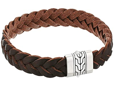 John Hardy Classic Chain Bracelet on 13mm Brown Leather Cord w/ Pusher Clasp (Silver) Bracelet