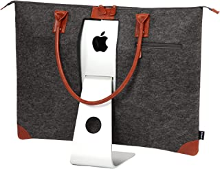 "Lavolta Carrying Case Bag for Apple iMac 27-inch - Handmade Genuine Leather and Wool Felt - fits iMac 27"" Retina 5K & 27"" Thunderbolt Display - with Protective Lining & Pockets for iMac Accessories"