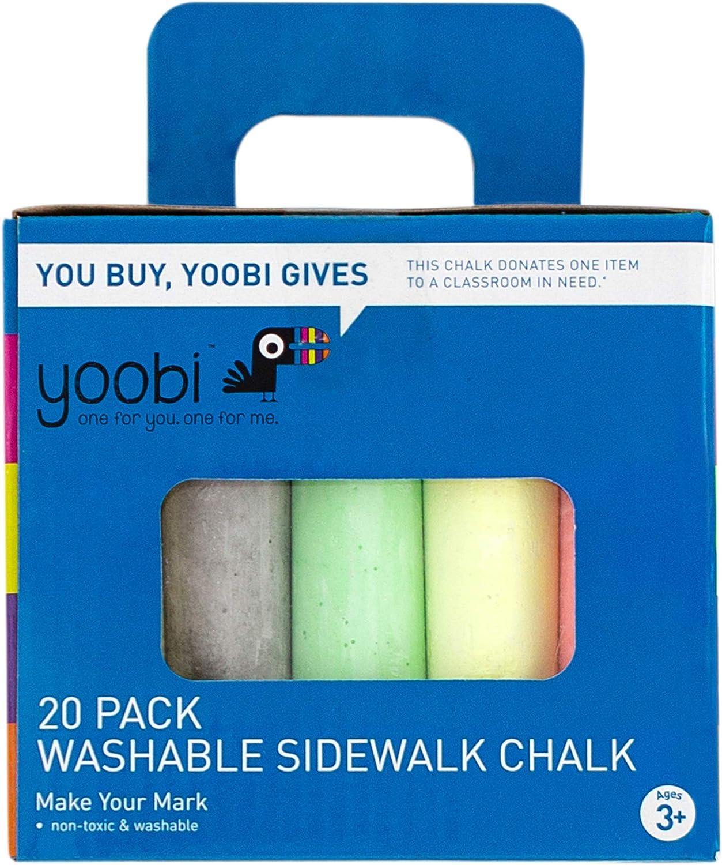 Yoobi Sidewalk NEW Chalk service Sticks and Carrying 20-Pi Box Cardboard