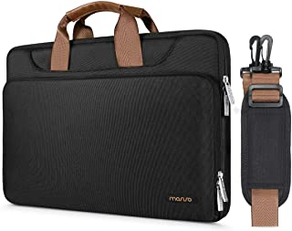 MOSISO 360° Protective Laptop Shoulder Bag Compatible 13-13.3 Inch MacBook Air, MacBook Pro Retina, Surface Laptop 2 2018, Surface Book, Polyester Briefcase Sleeve with Back Trolley Belt, Black