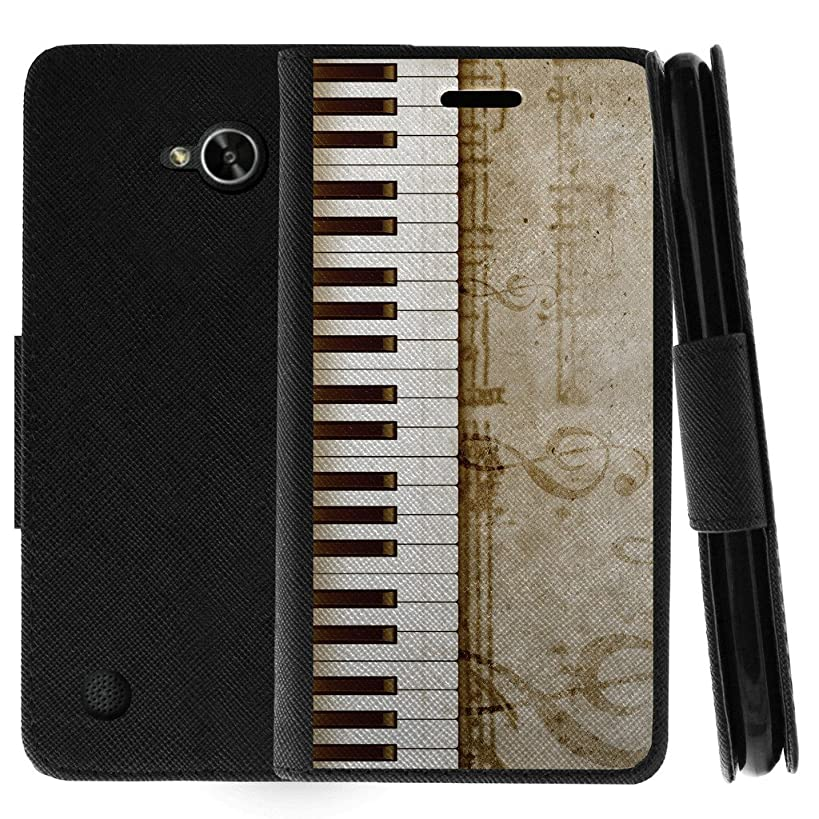 TurtleArmor | Compatible for LG X Power 2 Case | LG Fiesta 2 Case | LG X Charge Case | Flip Kickstand Wallet Case Leather Cover with Card Slots Music Design - Piano Keys