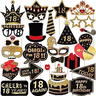PRETYZOOM 18 Cumpleaños Foto Props Feliz Cumpleaños Accesorios Fiesta Suministros para Fiestas de Fotos Glitter Fiesta de Cumpleaños Decoración Favorece Suministros 29 Unids