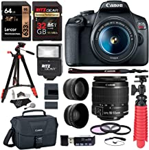 Canon EOS Rebel T7 24MP Camera with EF-S 18-55mm is II Lens, 2 Memory Cards, Slave Flash, 57