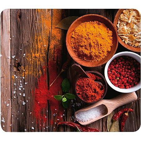 WENKO Crédence de cuisine en verre Epices - Protège-plaque pour plaques de cuisson vitrocéramiques et induction, planche à découper, Verre trempé, 56 x 50 x 0.5 cm, Multicolore