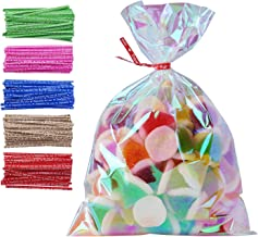 100 Pack Iridescent Holographic Cellophane Party Favor Treat Bags with 5 Colors Twist Ties Good for Themed Celebrations Baby Showers Weddings Girls Birthday Party Supplies (5
