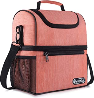 Insulated Lunch Bag with Dual Compartment, Leak Proof Liner Cooler Bag with Adjustable Shoulder Strap, Water-Resistant Lunch Box for Office/Picnic/Hiking/Beach(Style B-Orange)
