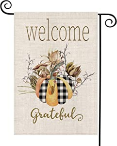 Fiberomance Fall Garden Flags Buffalo Plaid Floral Welcome Grateful Pumpkin Small Vertical Double sided 12x18 Yard Flag for outdoor Porch lawn Home Decoration