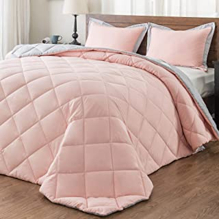 downluxe Lightweight Solid Comforter Set (Twin) with 1 Pillow Sham - 2-Piece Set - Pink and Grey - Down Alternative Reversible Comforter