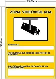 tualarmasincuotas.es Cartel VIDEOVIGILANCIA rgpd | Placa Zona Videovigilada Interior/Exterior Premium y Ultra-Resistente metálico ULTIMO Modelo HOMOLOGADO 30x21 cm (A4)