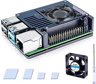 Bruphny Raspberry Pi 4 Caja, Raspberry Pi 4B Caja de Aluminio con 35mm Ventilador, Compatible con Raspberry Pi 4 Modelo B ...