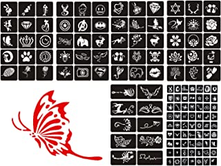 Airbrush Glitter Henna Tattoo Stencil Kit,Temporary Tattoo Template Body Art Drawing Stencil,Small Cute Flower Butterfly Cartoon Design for Children, Teenagers & Adults