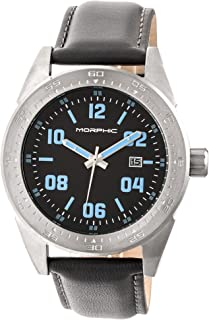 M63 Series Leather-Band Watch w/Date - Silver/Black