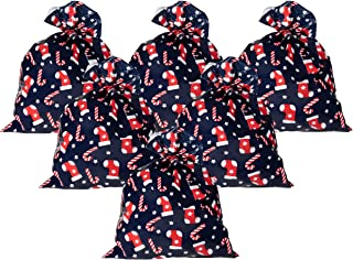 Pack of 6 Jumbo Gift Bags - Giant Plastic Gift Sacks, Candy Cane and Christmas Stocking Design - Perfect for Large Christmas Gifts - Includes Strings for Tying, Navy Blue, 36 x 48 Inches