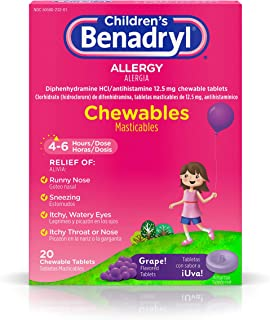 Children's Benadryl Allergy Chewables with Diphenhydramine HCl, Antihistamine Chewable Tablets in Grape Flavor, 20 ct (Pack of 2)