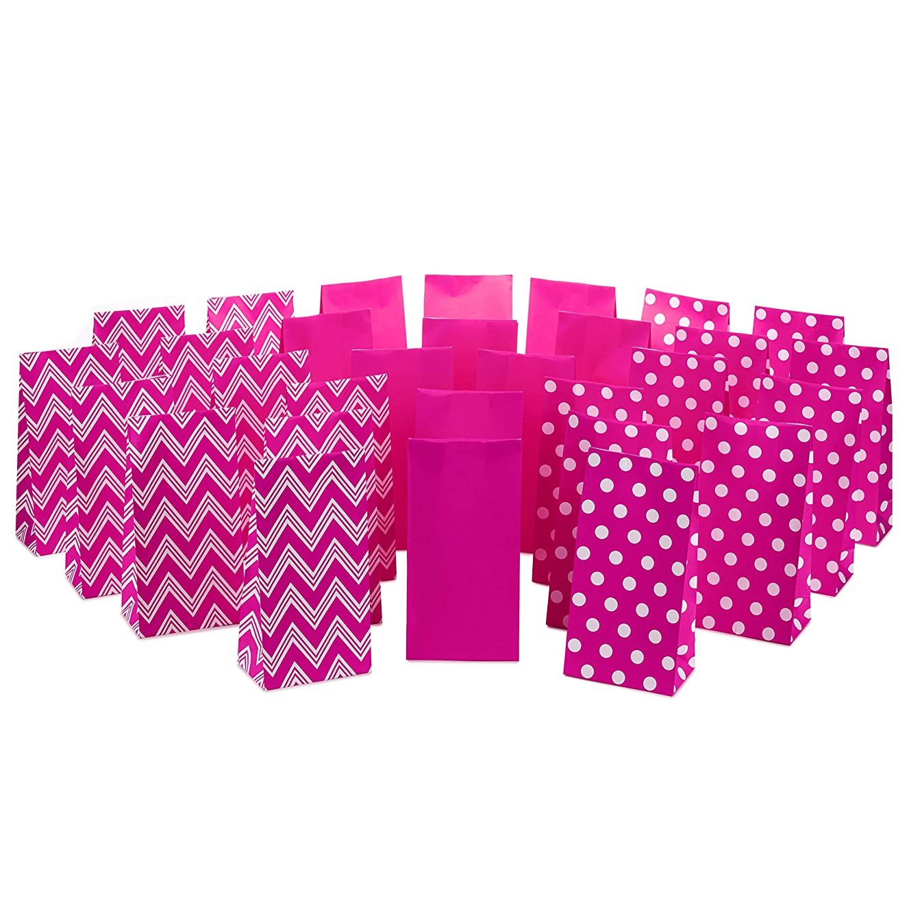 Hallmark Pink Assorted Favor Bags (30 Ct., 10 each of Chevron, White Dots, Solid Pink)