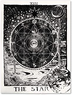 Uphome Tarot Zodiac Tapestry, Antique Psychedelic Black Starry and Moon with River Around The Constellation Map Wall Hanging- Light Weight Polyester Fabric Wall Art Decor (51