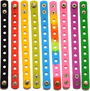 9 Colors 7 Inch Wristbands Silicon Bracelets for Kid Party Gifts croc and shoe Charms
