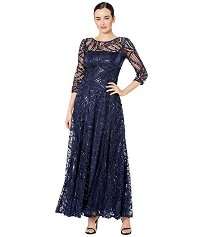 Tahari by ASL Novelty Sequin Sleeved Gown (Navy) Women