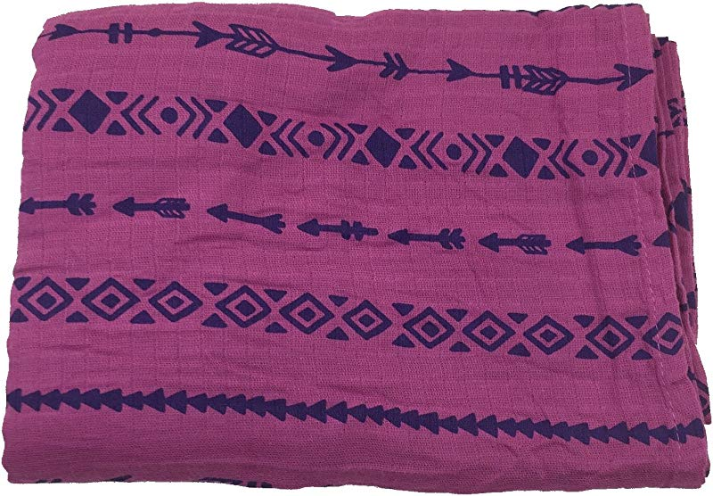 Bambino Land Muslin Swaddle Blanket Solid Printed Berry Arrows