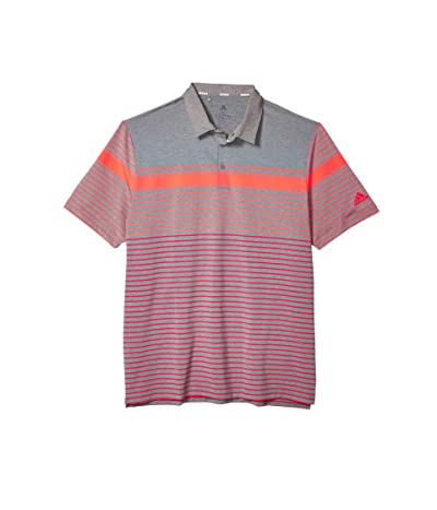adidas Golf Ultimate365 Engineered Heathered Polo Shirt (Flash Red/Real Coral/Grey Three Melange) Men