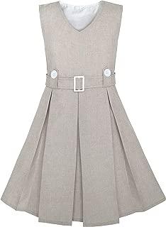 Sunny Fashion Girls Dress Khaki Button Back School Uniform Pleated Hem Size 6-14 Years