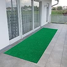 Ottomanson Evergreen Collection Indoor/Outdoor Green Artificial Grass Turf Solid Design Runner Rug, 2'7