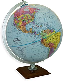 Replogle Timeless - Classic Blue Ocean Desktop World Globe, Cherry Wood Square Base, Over 4,000 Place Names, Designed for Antique-Style Home Décor (12