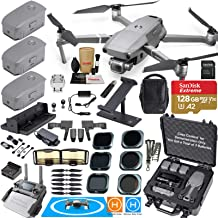 DJI Mavic 2 PRO Drone Quadcopter Fly More Kit Bundle with 3 Batteries, Hard Rugged Carrying Case, ND & Rotating Adjustable Polarizer Filter Set & Must Have Accessories (12 Items)